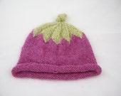 Berry Hat- Wool Hat,  Raspberry, Handknitted