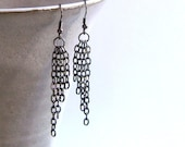 Chain Earrings - Gunmetal (dramatic, dangle, long, black, statement) - aeadornments