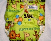 handsewnbyme 1 Fitted Cloth Diaper Approx 10-20 POUNDS Put Me In The Zoo Lime Green Background