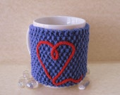 Cup Cozy, Mug Cozy, Tea Cup Cozy Blue with Red Heart and Wood Tree Branch Button