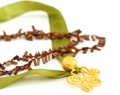 Olive Green Necklace with Brrown Beads