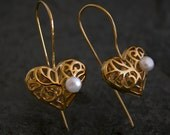 Gold Heart Pearl Earrings, heart jewelry, valentines day Wonderland Gold Spiral Heart with Pearl Earrings - gazellejewelry