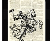 Knight Medieval Print Made From Antique Dictionary Page and Antique Engraving