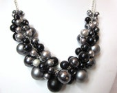 Pearl Cluster Necklace in Shades of Gray and Black (Matte Black Focal)-  Chunky, Choker, Bib, Necklace, Formal, Prom, Fun - CreationsbyCynthia1