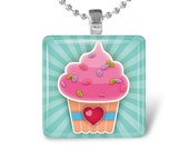 Glass Tile Pendant Cupcake Pendant Cupcake Necklace With Silver Ball Chain (A2183)