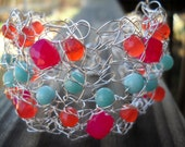 Sterling Silver Wire Crochet Cuff with Juicy Pink and Orange Chalcedony and Aqua Peruvian Amanzonite - MegsCrochetJewels