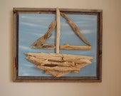 Driftwood Sailboat on  light blue and tan painted canvas with rustic frame 16x20 (19x23 with frame)