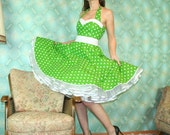 50's vintage dress full skirt green white polka dots Pinup retro Tailor Made nr.40