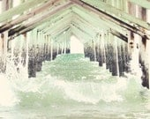 Ocean Isle Pier n.5 / 8x10 Fine Art Photograph / Ocean Isle NC / beach waves pier water white mint green brown - JenniferLynnPhotos