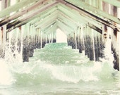Ocean Isle Pier n.5 / 8x10 Fine Art Photograph / Ocean Isle NC / beach waves pier water white mint green brown - JenniferLynnPhotos