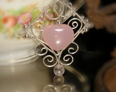 Sterling Silver Wrapped Filigree Earrings with Pink Chalcedony Heart - winddancerstudios