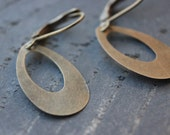 Loop Dangle Earrings Oval Antique Brass Lightweight Minimalist Minimal Simple