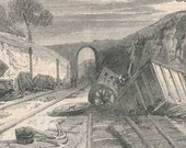 1862 Railway Accident at WINCHBURGH EDINBURGH and GLASGOW Wood Engraving Print Disaster
