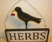 Herbs Crow Country Wood Sign Primitive with Wire Hanger - craftsbymerle