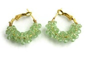 Earrings mint green crystal hoops gold  bridesmaids spring fashion orchids - Ahkriti