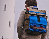 XL backpack equipped with skateboard straps in bright blue and tan. Possibly the coolest thing on earth. Made to order.