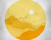 Mid Century Art Print, Orange Yellow Grey, Sunshine, Mountains Abstract Landscape, Bird print - evesand