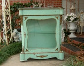 French DISPLAY CASE CABINET Shabby Chic Distressed Aqua Ormolu Antique Furniture