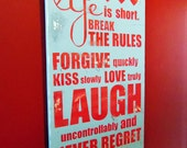 Typography Wall Art - Life is Short - Gray and Red Wood Sign