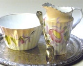 vintage English porridge bowl and creamer - fadedsimplicity