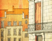 PARIS's windows  - Paris illustration - Paris art illustration print - Paris decor -Love,orange,yellow,Paris wall art,France,French fine art - tubidu