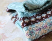 Fair Isle Fingerless Gloves Aqua Blue Chocolate Brown Lilac