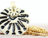 Black Sunburst Porcelain Pendant Necklace READY TO SHIP