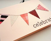CELEBRATE Bunting Flag Banner Greeting Card, Blank Inside, Peach Pink, Brown, Sewn Thread, Stamp Embossed, Glitter, Spring Pastel - stephanieh02