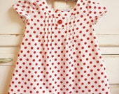 Girls Dress Vintage Spotty  Polka Dot Red White Size 2 OOAK Retro Mod - apieceofpie