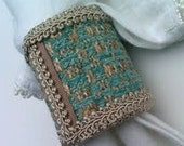 Fabric Napkin Rings, Blue & Taupe Designer Napkin Cuffs