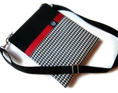 iPad Case, iPad 2 Sleeve, PADDED Cover Bag, Stylish iPad Bag with Shoulder Strap, Black and White Houndstooth with Red Accent - aHelpingHandBag
