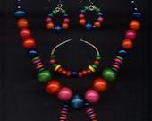 Wood chunky necklace set