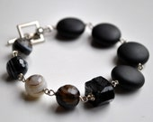 Evolution Bracelet--Banded Onyx, Rough Black Rock Quartz, Matte Finish Black Onyx, Sterling Silver Toggle Clasp, OOAK - WhimsybyKT