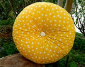 Yellow polka cotton round pillow 16""