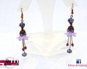 Vintage Purple Violet  Flower Earrings with Lucite, Bohemian Crystal- Magic Collection