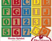 Wooden Alphabet and Numbers Square Clipart - Digital Clipart / Scrapbooking colorful - card design, invitations, stickers, web design