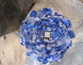 Royal Blue Satin and Silver Organza FLOWER PIN/Brooch  Hair Clip with  Rhinestone Center Accent - theraggedyrose