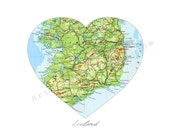Ireland Vintage Map Art PRINT 8 x 10 Irish Map Heart Decor - No.P237