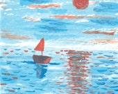The sea, ACEO, original watercolor