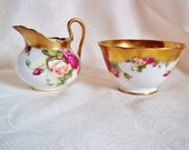 Royal Chelsea Creamer And Sugar Set  Golden Rose Made In England English Rose
