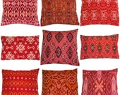 Ikat Pillow, Coral, Red, Orange, 16x16, 12x18, Set of 9