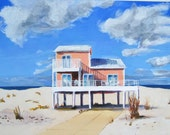 Beach Art, Pink Peach Oceanfront House in Florida, Acrylic on Paper, 8 x 11 in.
