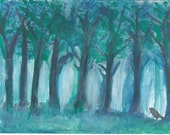 Teal Blue Forest Painting