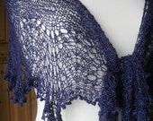 Tussah Silk Hand Knit Lace Crescent Shawl