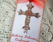Baptism-Confirmation-First Holy Communion Hang Tags Red & Cocoa Gift Tags Mini Bookmark Set of 6