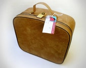 Appealing Vintage 1960s Tan Vanity Case Travel Bag