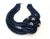 Navy Blue Nautical Sailor's Knot Necklace