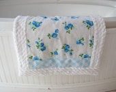 NEW blue roses RUG handmade of VINTAGE fabrics pet quilt chenille bath mat shabby chic cottage