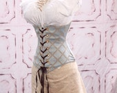 Waist 40-42 Pale Blue with Tan Crisscross Wench Corset