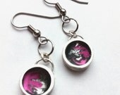 Small Pink Round Silver Dangle Earrings, Silver Earrings, Chic Earrings, Small Dangle Earrings, Small Round Earrings